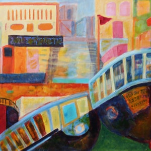 (CreativeWork) VARANASI ABSTRACT LANDSCAPE by Maureen Finck. oil-painting. Shop online at Bluethumb.