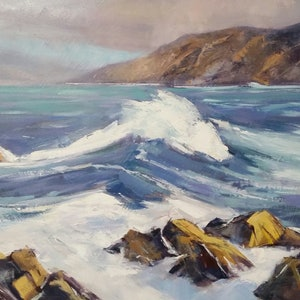 (CreativeWork) Surging Wave by John Pearson. oil-painting. Shop online at Bluethumb.