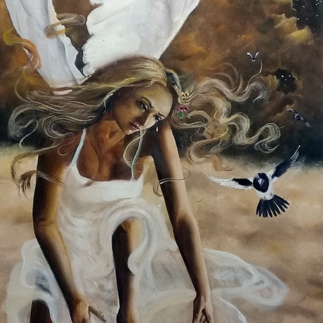 (CreativeWork) Compassion of Angels by Rhonda Armistead. Oil Paint. Shop online at Bluethumb.