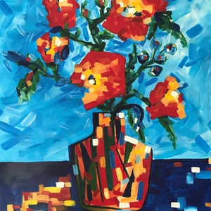 (CreativeWork) Red flowers in Pablo's vase by Maggie Deall. arcylic-painting. Shop online at Bluethumb.