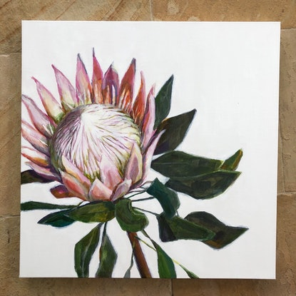 (CreativeWork) King Of Flowers by Kate Gradwell. Acrylic Paint. Shop online at Bluethumb.