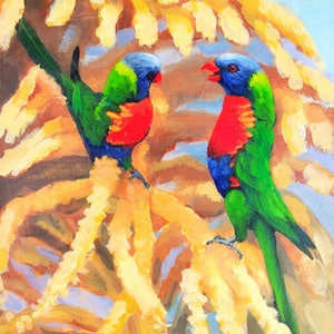 (CreativeWork) FRAMED 30x35cm - On a Palm Tree - Two Rainbow Lorikeets.  by Olga Kolesnik. arcylic-painting. Shop online at Bluethumb.