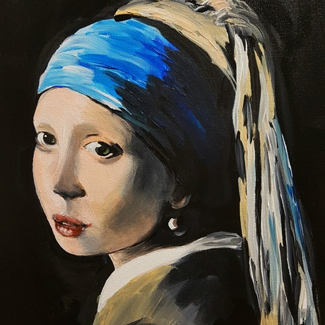 """(CreativeWork) """"Thinking of Vermeer"""",  Girl with a pearl earring by Elda Rajovic. Acrylic Paint. Shop online at Bluethumb."""