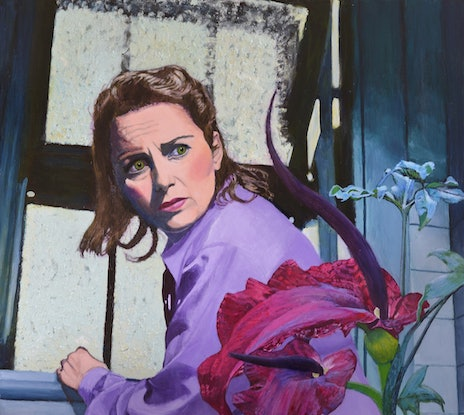 (CreativeWork) Hothouse Nightmare - Quirky retro sci fi surreal figurative painting with carnivorous plant by Jane Ianniello. Acrylic. Shop online at Bluethumb.