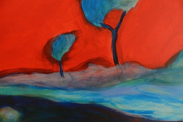 (CreativeWork) Red Sky by Anne Huth. Acrylic Paint. Shop online at Bluethumb.