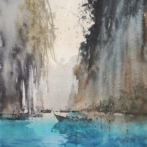 (CreativeWork) River2 by jianqiang xu. watercolour. Shop online at Bluethumb.