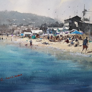 (CreativeWork) summer beach by jianqiang xu. watercolour. Shop online at Bluethumb.