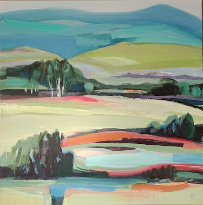 (CreativeWork) VALLEY VIEW by Karen McPhee. Acrylic Paint. Shop online at Bluethumb.