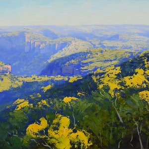 (CreativeWork) The Grose Valley by Graham Gercken. oil-painting. Shop online at Bluethumb.