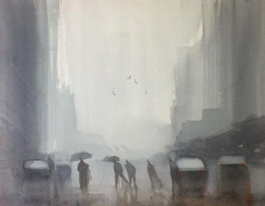 (CreativeWork) Crossing in the rain by Mike Barr. Watercolour Paint. Shop online at Bluethumb.