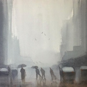 (CreativeWork) Crossing in the rain by Mike Barr. watercolour. Shop online at Bluethumb.