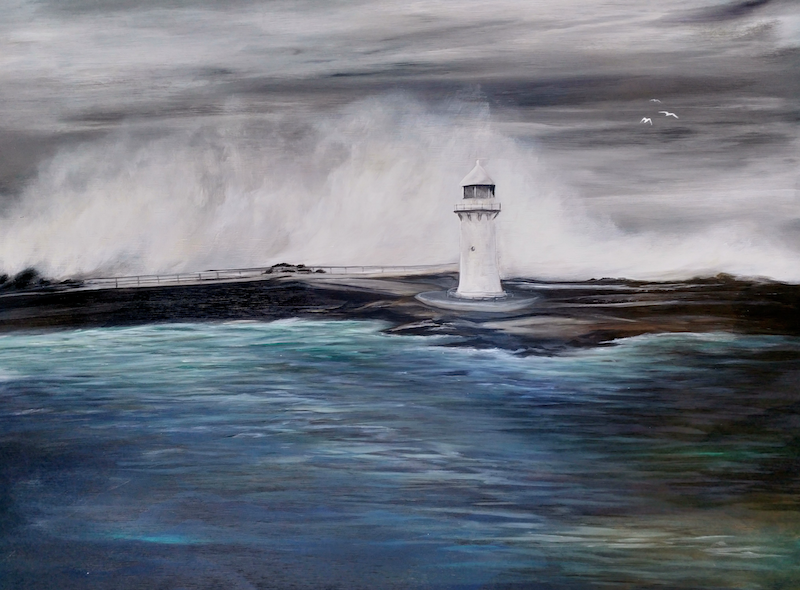 (CreativeWork) Wollongong Harbour Lighthouse  by Amanda Skye Mulder. arcylic-painting. Shop online at Bluethumb.