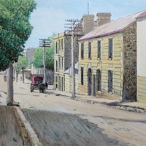 (CreativeWork) Montpelier Retreat, Battery Point  c.1920s by Michael Bessell. mixed-media. Shop online at Bluethumb.