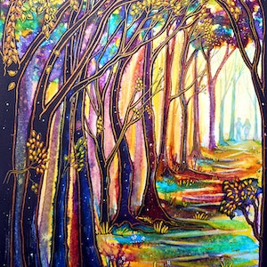 (CreativeWork) Trees - You Colour My World  by Linda Callaghan. mixed-media. Shop online at Bluethumb.