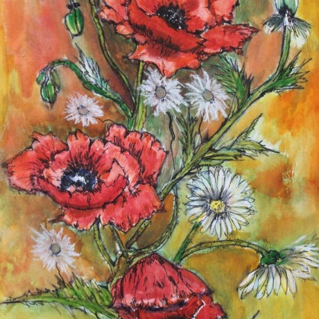 (CreativeWork) Poppies and Daisies by Angela Gannicott. Mixed Media. Shop online at Bluethumb.