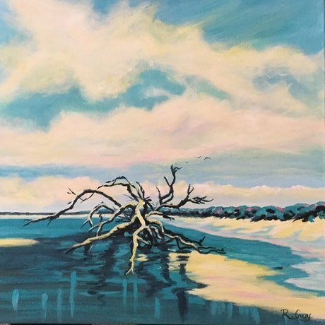 (CreativeWork) Azure Driftwood - Medium Abstract Turquoise Blue Seascape by Robyn Gray. Acrylic Paint. Shop online at Bluethumb.