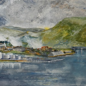 (CreativeWork) The Derwent Anove the Tasman Bridge by Christopher Johnston. acrylic-painting. Shop online at Bluethumb.