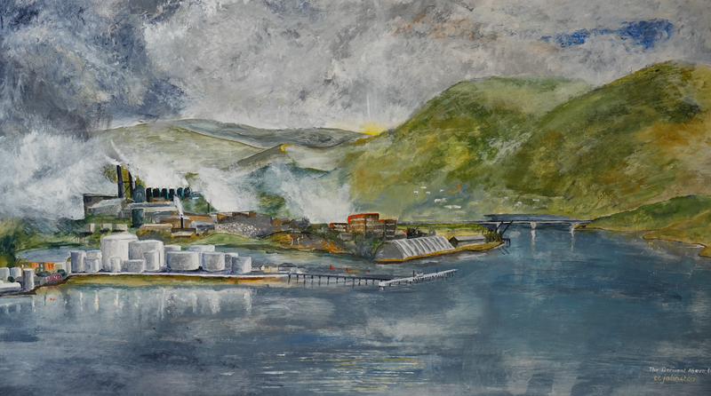 (CreativeWork) The Derwent Anove the Tasman Bridge by Christopher Johnston. Acrylic Paint. Shop online at Bluethumb.