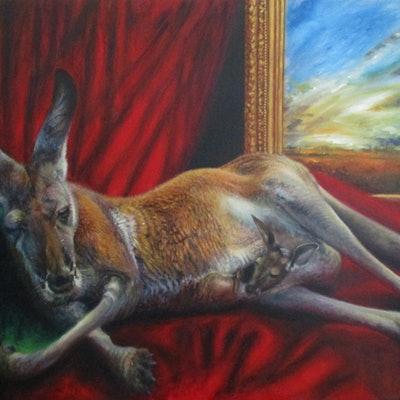 (CreativeWork) Reclining Roo by Sarah McBride. oil-painting. Shop online at Bluethumb.