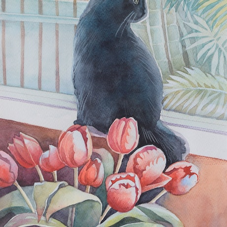 (CreativeWork) Cat  and Tulips. Original watercolor painting. by Alla Art. Watercolour Paint. Shop online at Bluethumb.