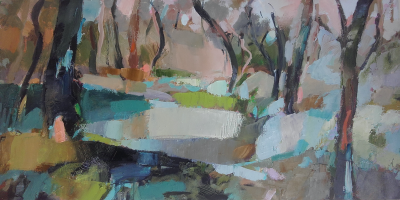 (CreativeWork) Softly Tread Landscape by Carmen McFaull. oil-painting. Shop online at Bluethumb.