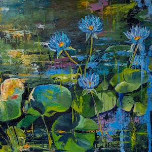 (CreativeWork) Blue Lotus Garden by Rosa d'Argent. oil-painting. Shop online at Bluethumb.