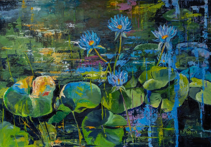 Blue Lotus Garden By Rosa Dargent Paintings For Sale Bluethumb