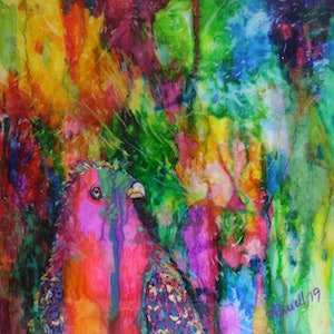 (CreativeWork) Hello Polly by Ann Russell. mixed-media. Shop online at Bluethumb.