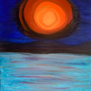 (CreativeWork) Electric Sunset # 1 by Fiona Cadd. arcylic-painting. Shop online at Bluethumb.