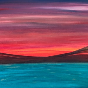 (CreativeWork) Electric Sunset # 2 by Fiona Cadd. arcylic-painting. Shop online at Bluethumb.