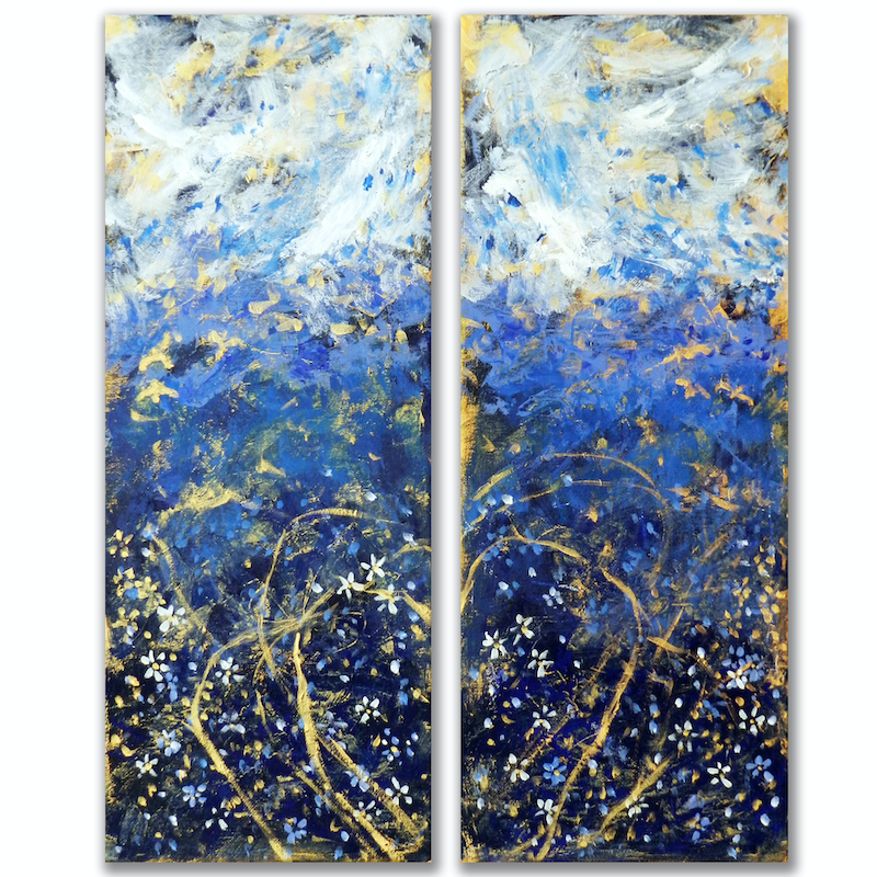 (CreativeWork) Love is in the Air (Diptych) by Anne Huth. Acrylic Paint. Shop online at Bluethumb.