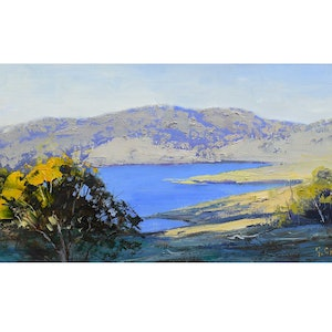 (CreativeWork) Lake Windermere nsw by Graham Gercken. oil-painting. Shop online at Bluethumb.