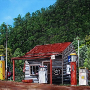 (CreativeWork) Woods Point historic service station, Victoria, Australia, Limited edition giclee print Ed. 2 of 100 by Debra Dickson. print. Shop online at Bluethumb.