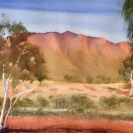 (CreativeWork) The East McDonnell Range in Alice Springs, Central Australia by Mary Brown. Watercolour Paint. Shop online at Bluethumb.