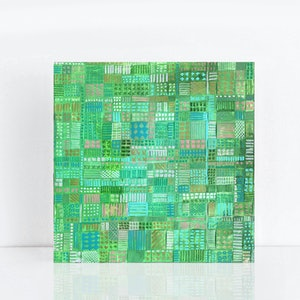 (CreativeWork) Field Study II - abstract woven paper in green by Jennifer Bell. mixed-media. Shop online at Bluethumb.