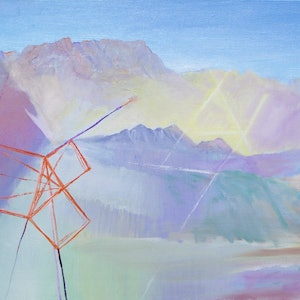 (CreativeWork) Mountains with Geometry by Roland Weight. oil-painting. Shop online at Bluethumb.
