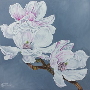 (CreativeWork) White Magnolia Study by Alicia Cornwell. oil-painting. Shop online at Bluethumb.