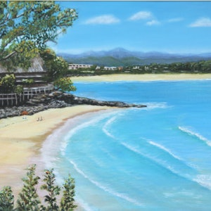 (CreativeWork) Little Cove Noosa Heads by Deb Clancy. oil-painting. Shop online at Bluethumb.