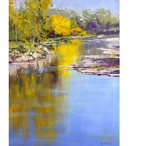(CreativeWork) Autumn Colours Tumut  by Graham Gercken. oil-painting. Shop online at Bluethumb.