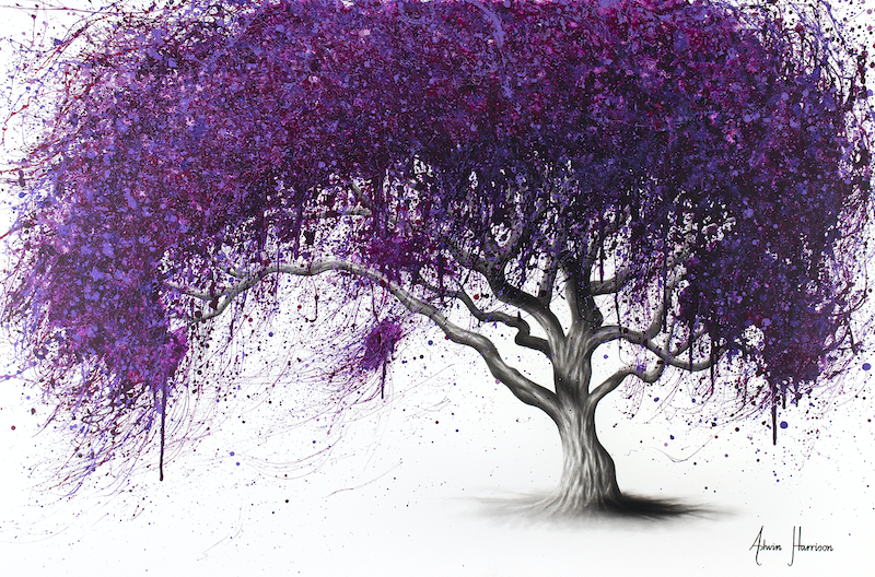 (CreativeWork) Violet Shadows by Ashvin Harrison. arcylic-painting. Shop online at Bluethumb.