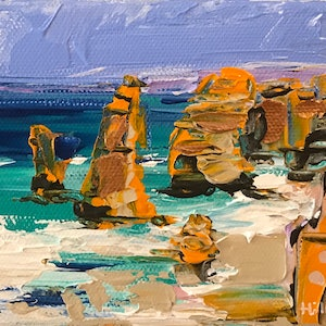 (CreativeWork) Twelve Apostles, Great Ocean Road by Hilly Coufreur. arcylic-painting. Shop online at Bluethumb.
