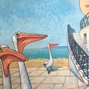 (CreativeWork) Pelican Promenade by Mary Conder. arcylic-painting. Shop online at Bluethumb.