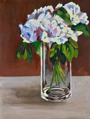 (CreativeWork) White peonies in tall vase by Deborah Green. Acrylic Paint. Shop online at Bluethumb.