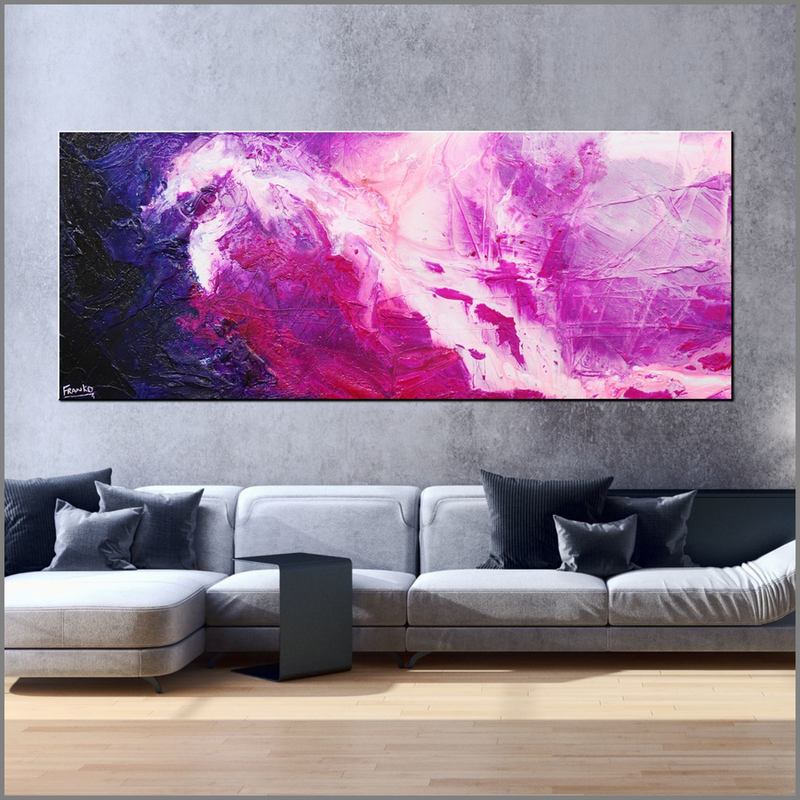(CreativeWork) Atomic Colour Bomb  200cm x 80cm pink navy neon purple jewel Acrylic Abstract Gloss Finish FRANKO by _Franko _. arcylic-painting. Shop online at Bluethumb.