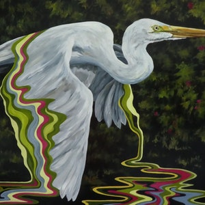 (CreativeWork) Great White Heron by april white. arcylic-painting. Shop online at Bluethumb.