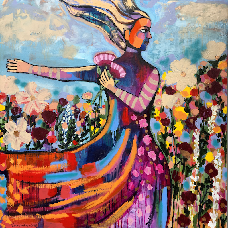 (CreativeWork) The Dancer by Sandra Oost. arcylic-painting. Shop online at Bluethumb.