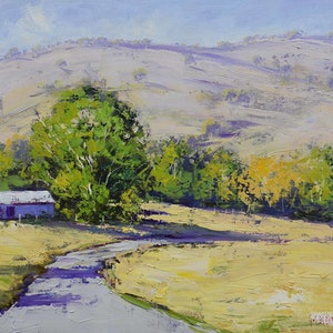 (CreativeWork) Dry summer Tumut by Graham Gercken. oil-painting. Shop online at Bluethumb.