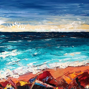 (CreativeWork) Red Rock - Stormy Beach Seascape by Angela Hawkey. arcylic-painting. Shop online at Bluethumb.