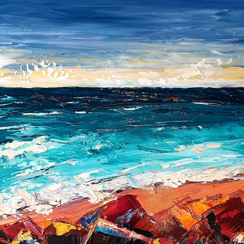 (CreativeWork) Red Rock Beach - Stormy Beach Abstract Seascape by Angela Hawkey. arcylic-painting. Shop online at Bluethumb.