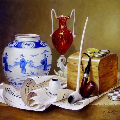 (CreativeWork) Box, Ming pot, scrolled newspapers, 3 pipes, ruby red glass, box with magnifying glass. by Jos Kivits. Oil Paint. Shop online at Bluethumb.